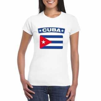 T shirt wit cuba vlag wit dames
