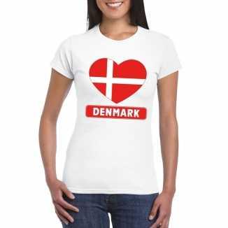 T shirt wit denemarken vlag in hart wit dames
