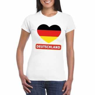 T shirt wit duitsland vlag in hart wit dames