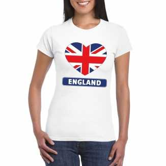T shirt wit engeland vlag in hart wit dames