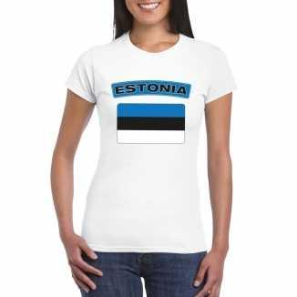 T shirt wit estland vlag wit dames