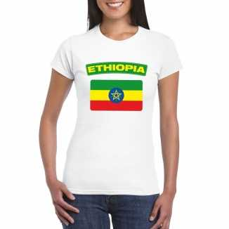T shirt wit ethiopie vlag wit dames
