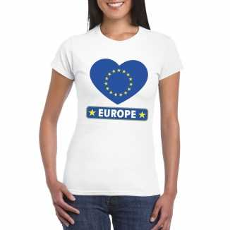 T shirt wit europa vlag in hart wit dames