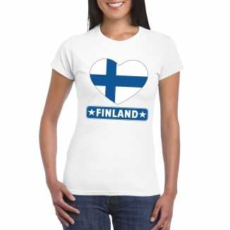 T shirt wit finland vlag in hart wit dames