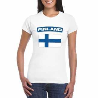 T shirt wit finland vlag wit dames
