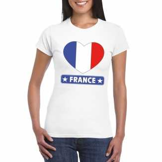 T shirt wit frankrijk vlag in hart wit dames