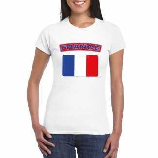 T shirt wit frankrijk vlag wit dames