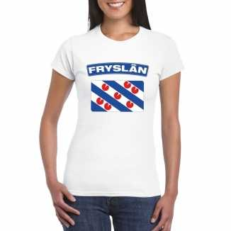 T shirt wit friesland vlag wit dames