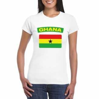 T shirt wit ghana vlag wit dames