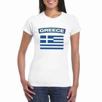 T shirt wit griekenland vlag wit dames