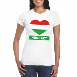T shirt wit hongarije vlag in hart wit dames