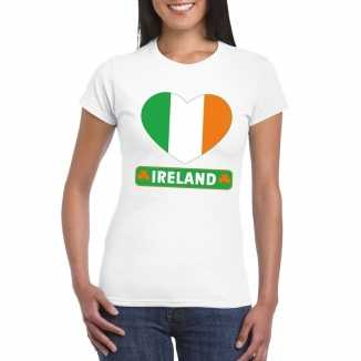 T shirt wit ierland vlag in hart wit dames