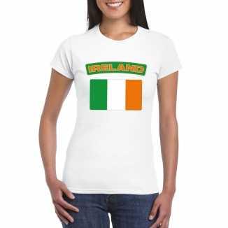 T shirt wit ierland vlag wit dames