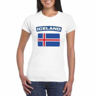 T shirt wit ijsland vlag wit dames