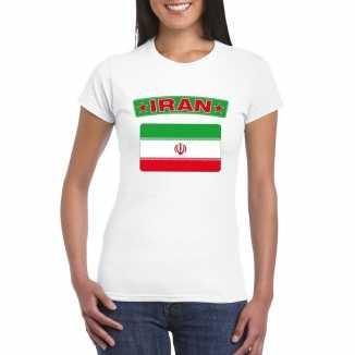 T shirt wit iran vlag wit dames