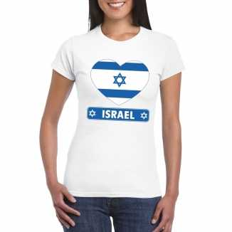 T shirt wit israel vlag in hart wit dames