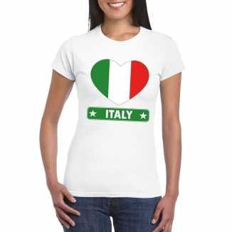 T shirt wit italie vlag in hart wit dames
