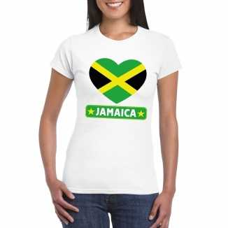 T shirt wit jamaica vlag in hart wit dames