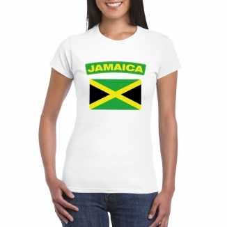 T shirt wit jamaica vlag wit dames