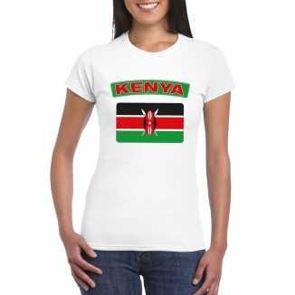 T shirt wit kenia vlag wit dames