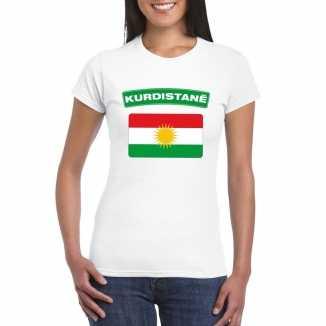 T shirt wit koerdistan vlag wit dames
