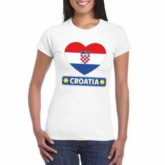 T shirt wit kroatie vlag in hart wit dames