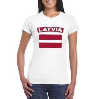 T shirt wit letland vlag wit dames