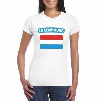 T shirt wit luxemburg vlag wit dames