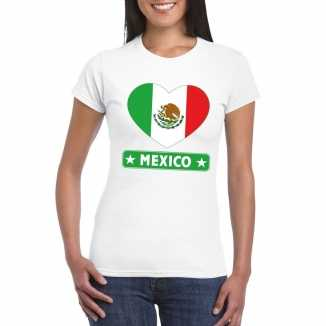 T shirt wit mexico vlag in hart wit dames