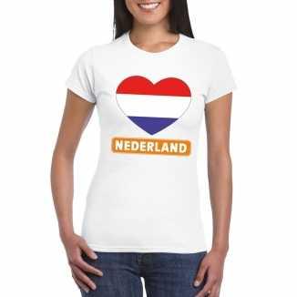 T shirt wit nederland vlag in hart wit dames