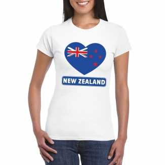 T shirt wit nieuw zeeland vlag in hart wit dames