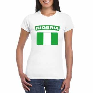 T shirt wit nigeria vlag wit dames