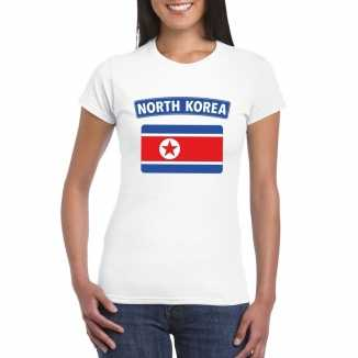 T shirt wit noord korea vlag wit dames