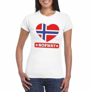 T shirt wit noorwegen vlag in hart wit dames