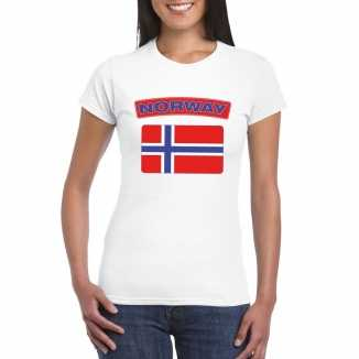 T shirt wit noorwegen vlag wit dames