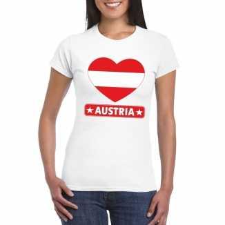 T shirt wit oostenrijk vlag in hart wit dames
