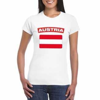 T shirt wit oostenrijk vlag wit dames