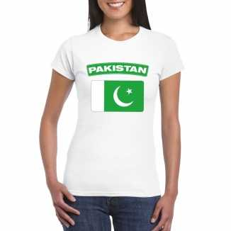 T shirt wit pakistan vlag wit dames