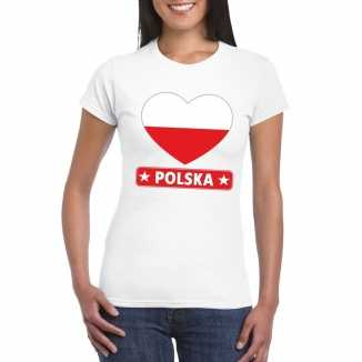 T shirt wit polen vlag in hart wit dames