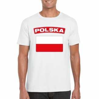 T shirt wit polen vlag wit heren
