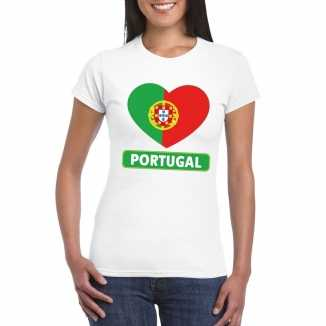 T shirt wit portual vlag in hart wit dames