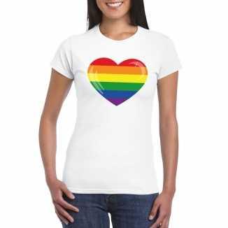 T shirt wit regenboog vlag in hart wit dames