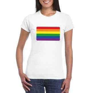 T shirt wit regenboog vlag wit dames