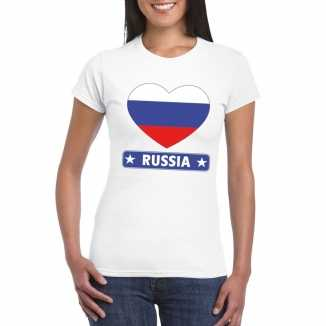 T shirt wit rusland vlag in hart wit dames