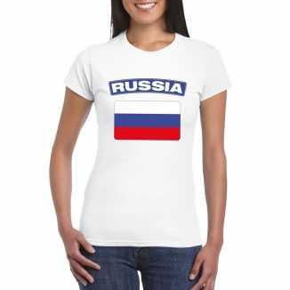 T shirt wit rusland vlag wit dames