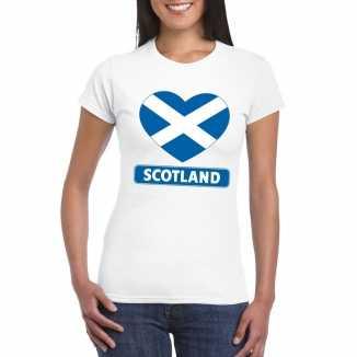 T shirt wit schotland vlag in hart wit dames