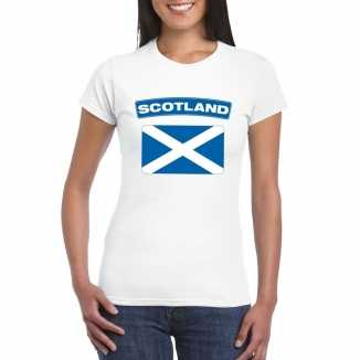 T shirt wit schotland vlag wit dames