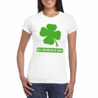 T shirt wit st. patricksday klavertje wit dames