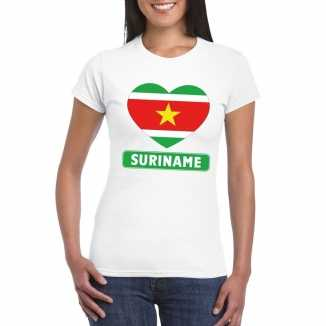 T shirt wit suriname vlag in hart wit dames