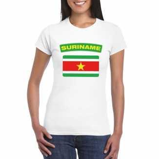 T shirt wit suriname vlag wit dames